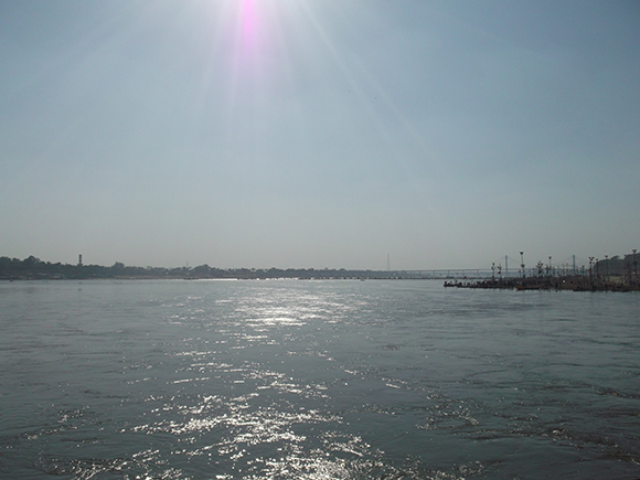 The most pious waters of Sangam - the meeting place of Ganga and Yamuna.