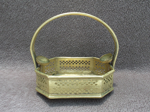 Front View of Antique Brass Flower Basket with Handle in Hexagonal Shape.