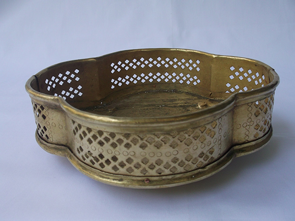 Antique Brass Flower Basket with Four Semi-circular Sides.