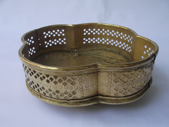 Top View of Antique Brass Flower Basket with Four Semi-circular Sides.