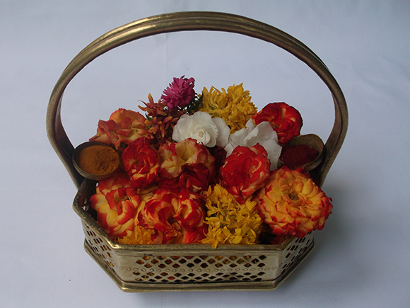 Poola Sajja with Flowers for Pooja