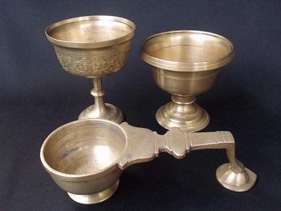 Antique Brass Massage Oil Cups