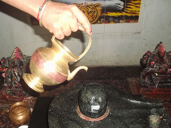 Close up view of Abhishekam