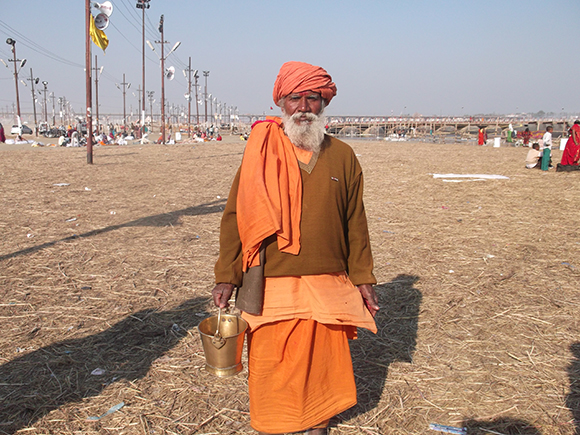 A sanyasi using Kamandalam