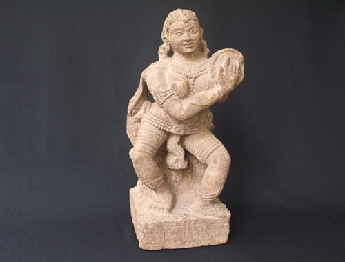 Beatiful stone sculptured statue of a lady drummer purchased in a sale.