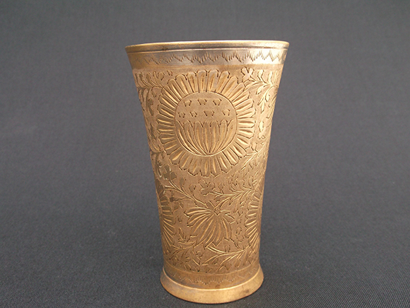 Antique Punjabi brass lassi tumbler glass – Front view