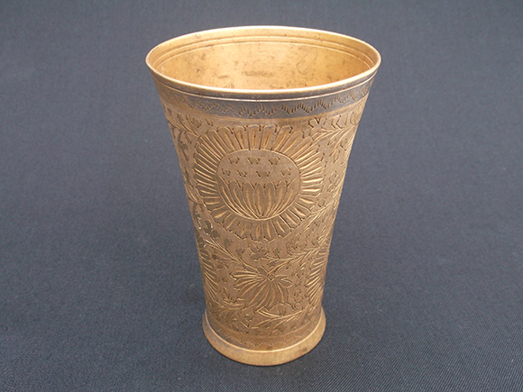 Antique Punjabi brass lassi  tumbler glass – Mouth view