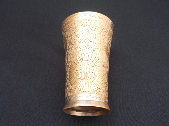 Antique Punjabi brass lassi  tumbler glass – Bottom view.