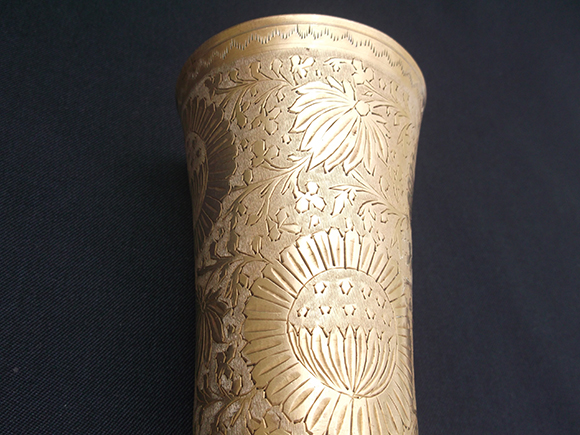 Antique Punjabi brass lassi tumbler glass – Intricate carved design on the body of the glass.