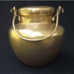 Round shape brass ghee pot with lid and handle
