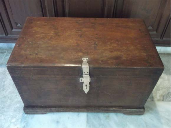 Vintage Burma Teak Wood Trunk Box-top view
