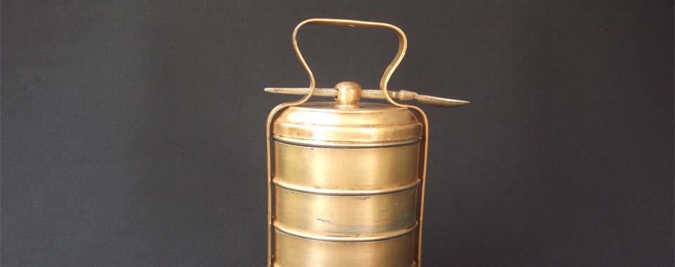 Vintage Brass 5-Tier Tiffin Box Carrier