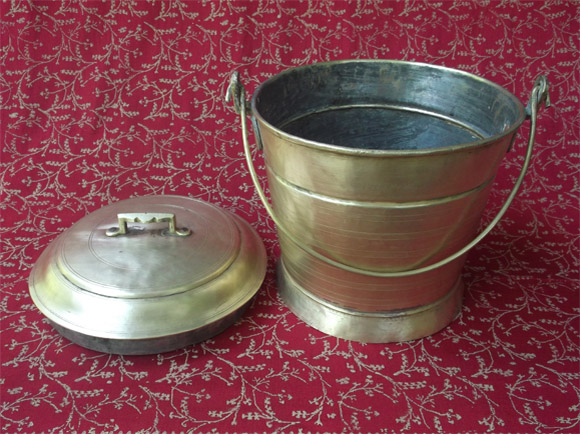 Antique Brass Sweets Carrier-carrier and lid shown separately