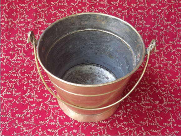 Antique Brass Sweets Carrier- showing tin coating