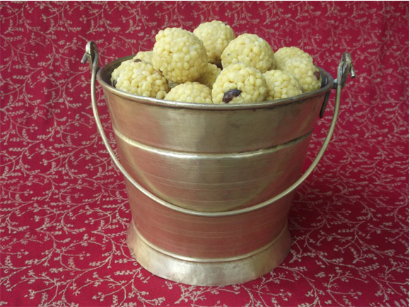Antique Brass Sweets Carrier- with sweet laddus