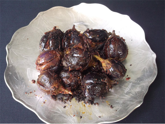 Cooked Brinjals ready for serving