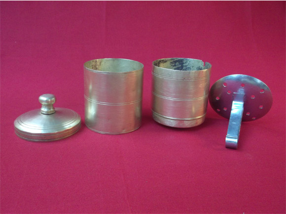Complete coffee filter assembly- Lower chamber, upper chamber, lid and plunger.(The stainless steel plunger is not a part of the antique brass filter but shown as a model)