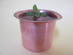 Antique copper tumbler, Tulasi leaves enhance the benefits of water in copper vessel