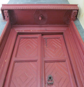 Close view of the door showing the details on the canopy