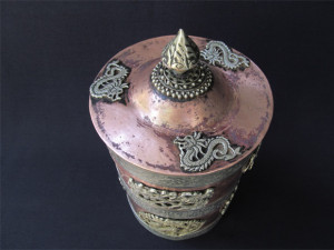 Copper vessel-top view- showing 3 dragon motifs on the lid