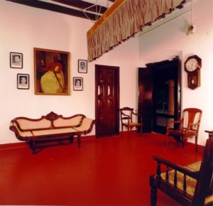 Picture showing the Pankha hanging from the roof of the room with ropes and pulleys in a vintage house
